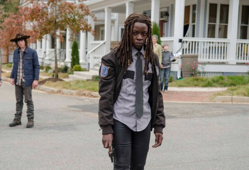 Chandler Riggs as Carl Grimes and Danai Gurira as Michonne - The Walking Dead _ Season 5, Episode 15 - Photo Credit: Gene Page/AMC