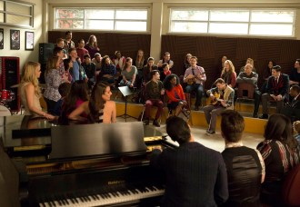 """GLEE: Will (Matthew Morrison, CL) and Sam (Chord Overstreet, CR) perform in the special two-hour """"2009/Dreams Come True"""" Series Finale episode of GLEE airing Friday, March 20 (8:00-10:00 PM ET/PT) on FOX. ©2015 Fox Broadcasting Co. CR: Adam Rose/FOX"""