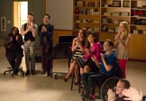 """GLEE: L-R: Mercedes (Amber Riley), Kurt (Chris Colfer), Blaine (Daren Criss), Rachel (Lea Michele), Tina (Jenna Ushkowitz), Artie (Kevin McHale) and Kitty (Becca Tobin) watch Will and Sam perform in the special two-hour """"2009/Dreams Come True"""" Series Finale episode of GLEE airing Friday, March 20 (8:00-10:00 PM ET/PT) on FOX. ©2015 Fox Broadcasting Co. CR: Adam Rose/FOX"""