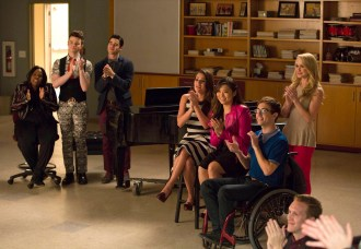"GLEE: L-R: Mercedes (Amber Riley), Kurt (Chris Colfer), Blaine (Daren Criss), Rachel (Lea Michele), Tina (Jenna Ushkowitz), Artie (Kevin McHale) and Kitty (Becca Tobin) watch Will and Sam perform in the special two-hour ""2009/Dreams Come True"" Series Finale episode of GLEE airing Friday, March 20 (8:00-10:00 PM ET/PT) on FOX. ©2015 Fox Broadcasting Co. CR: Adam Rose/FOX"