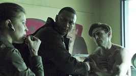 """Arrow -- """"Suicidal Tendencies"""" -- Image AR317_SG_0055 -- Pictured (L-R): Audrey Marie Anderson as Lyla Michaels David Ramsey as John Diggle, and Michael Rowe as Floyd Lawton / Deadshot -- Photo: The CW -- © 2015 The CW Network, LLC. All Rights Reserved."""