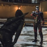 """Arrow -- """"Suicidal Tendencies"""" -- Image AR317B_0296b -- Pictured (L-R): Stephen Amell as Oliver Queen / The Arrow and Brandon Routh as Ray Palmer / The Atom -- Photo: Cate Cameron/The CW -- �© 2015 The CW Network, LLC. All Rights Reserved."""