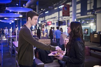 "The Flash -- ""Out of Time"" -- Image FLA115A_0212b -- Pictured (L-R): Grant Gustin as Barry Allen and Malese Jow as Linda Park -- Photo: Diyah Pera/The CW -- © 2015 The CW Network, LLC. All rights reserved."