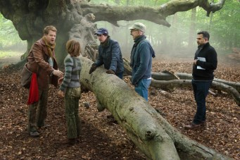 James Corden, Daniel Huttlestone, Rob Marshall and John DeLuca on the set of Disney's humorous and heartfelt musical INTO THE WOODS, directed by Rob Marshall and produced by John DeLuca, Rob Marshall, Marc Platt and Callum McDougall.