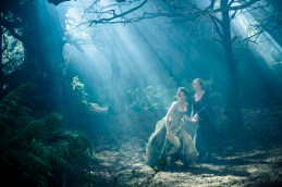 Anna Kendrick as Cinderella and Emily Blunt as the Baker's Wife in Disney's humorous and heartfelt musical INTO THE WOODS, directed by Rob Marshall and produced by John Deluca , Rob Marshall, Marc Platt and Callum MacDougall.