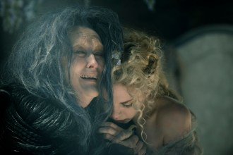 Meryl Streep as the Witch and MacKenzie Mauzy as Rapunzel in Disney's humorous and heartfelt musical INTO THE WOODS, directed by Rob Marshall and produced by John DeLuca, Rob Marshall, Marc Platt and Callum McDougall.
