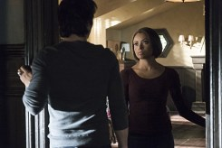 """The Vampire Diaries -- """"A Bird in a Gilded Cage"""" -- Image Number: VD617a_0016.jpg -- Pictured (L-R): Ian Somerhalder as Damon (back to camera) and Kat Graham as Bonnie -- Photo: Tina Rowden/The CW -- © 2015 The CW Network, LLC. All rights reserved"""