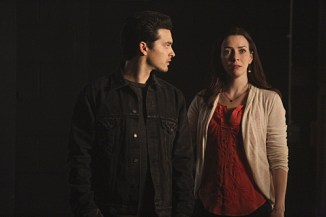 """The Vampire Diaries -- """"I'm Thinking of You All The While"""" -- Image Number: VD622c_0168.jpg -- Pictured (L-R): Michael Malarkey as Enzo and Annie Wersching as Lily -- Photo: Annette Brown/The CW -- © 2015 The CW Network, LLC. All rights reserved."""