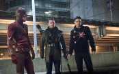 """The Flash -- """"Rogue Air"""" -- Image FLA122B_0161b -- Pictured (L-R): Grant Gustin as Barry Allen / The Flash, Stephen Amell as Oliver Queen / Arrow and Robbie Amell as Ronnie / Firestorm -- Photo: Diyah Pera/The CW -- © 2015 The CW Network, LLC. All rights reserved."""
