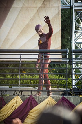 """The Flash -- """"The Man Who Saved Central City"""" -- Image FLA201a_0025b -- Pictured: Grant Gustin as The Flash -- Photo: Cate Cameron /The CW -- © 2015 The CW Network, LLC. All rights reserved"""