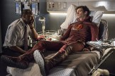 """The Flash -- """"The Man Who Saved Central City"""" -- Image FLA201b_0462b.jpg -- Pictured (L-R): Jesse L. Martin as Detective Joe West and Grant Gustin as Barry Allen -- Photo: Cate Cameron /The CW -- © 2015 The CW Network, LLC. All rights reserved."""