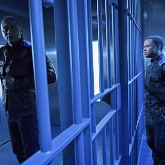 """Arrow -- """"A.W.O.L."""" -- Image AR411b_0237b.jpg -- Pictured (L-R): David Ramsey as John Diggle and Eugene Byrd as Andy Diggle -- Photo: Liane Hentscher/ The CW -- �© 2016 The CW Network, LLC. All Rights Reserved."""