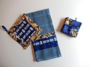 SATURDAY SHOUT-OUT: Glorious Zanymouse Creations (DOCTOR WHO dish towel, pot holder, and coasters: Photo Credit Zanymouse Creations)