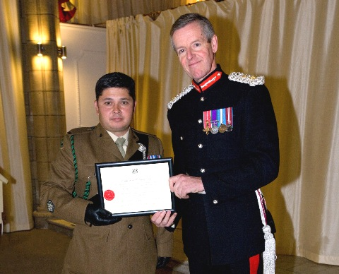 Timothy Rose with Lord-Lieutenant Colonel Edward Bolitho of Cornwall