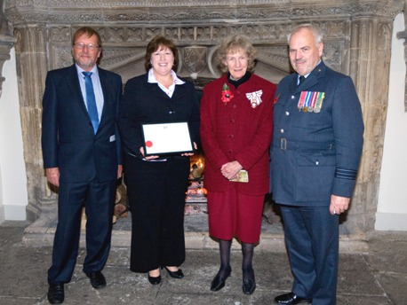 Susan Moorehead with her husband Peter Moorehead (left), Lord-Lieutenant Lady Gass and Wing Commander of Devon and Somerset ATC Brian Wills-Pope (right) at the awards ceremony in Wells.