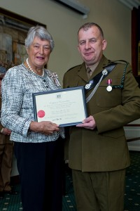 Colour Sergeant Tim Smiles awarded Certificate for Meritorious Service from Her Majesty's Lord-Lieutenant of Gloucestershire.