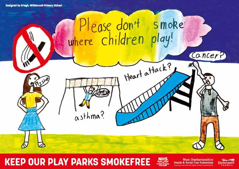 Orlagh Prior from Whitecrook Primary designed a poster urging adults 'Please don't smoke where children play'