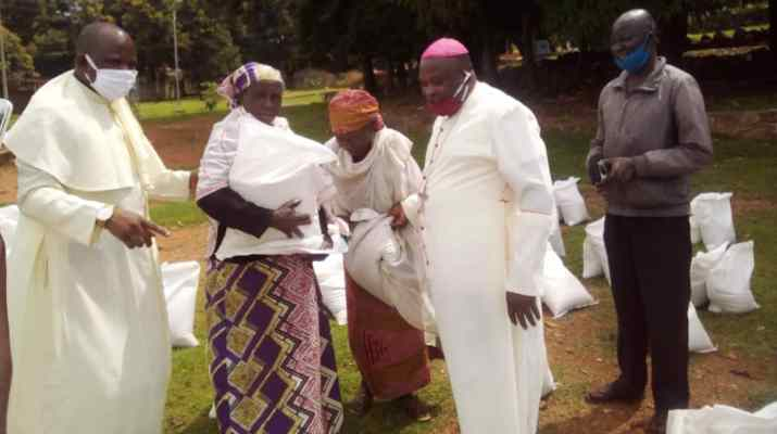 Covid-19 Catholic Bishop donates food items to 500 poor families