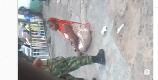 Soldier caught beating lady in Ibadan over indecent dressing