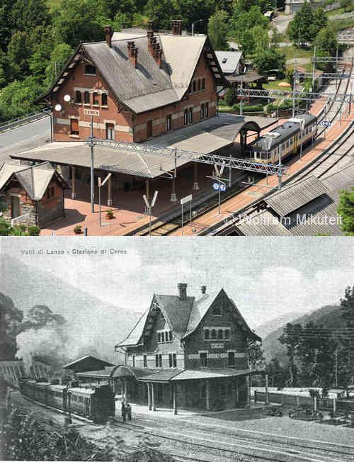 """Endstation Ceres im """"tipico stile svizzero"""", wie auch die anderen in den Jahren 1913-1916 errichteten Bahnhöfe auf dem Streckenabschnitt zwischen Lanzo Torinese und Ceres."""