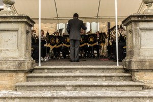 Zetland Court - Band playing on steps.