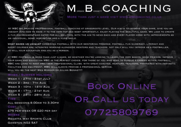 M B Coaching summer holiday football coaching dates