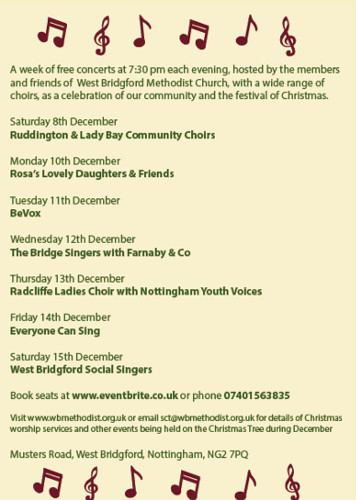 West Bridgford Methodist Church singing christmas tree
