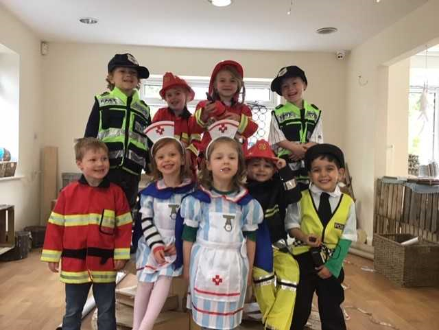 Children meeting emergency services workers