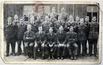 Sgt Sedgley at the POW camp in Poland, 2nd row, 5th from right.