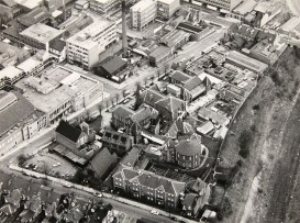 Aerial view of Edward Street hospital, possibly early 1970's since the railway (right) is no longer there.