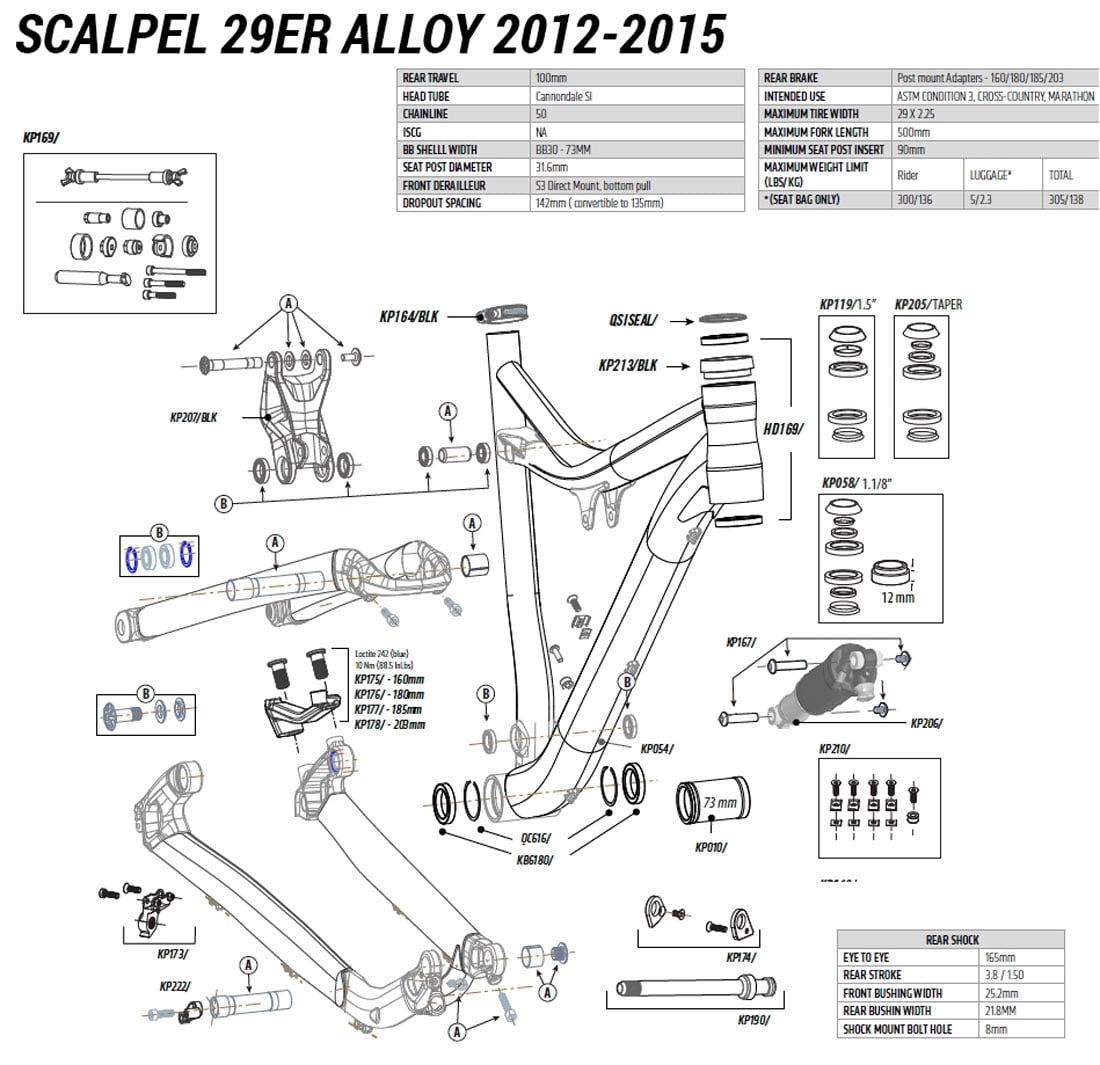 hight resolution of cannondale 29er alloy 2012 2015 spares list
