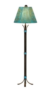 Turquoise Southwest Iron Floor Lamp & Shade 64""