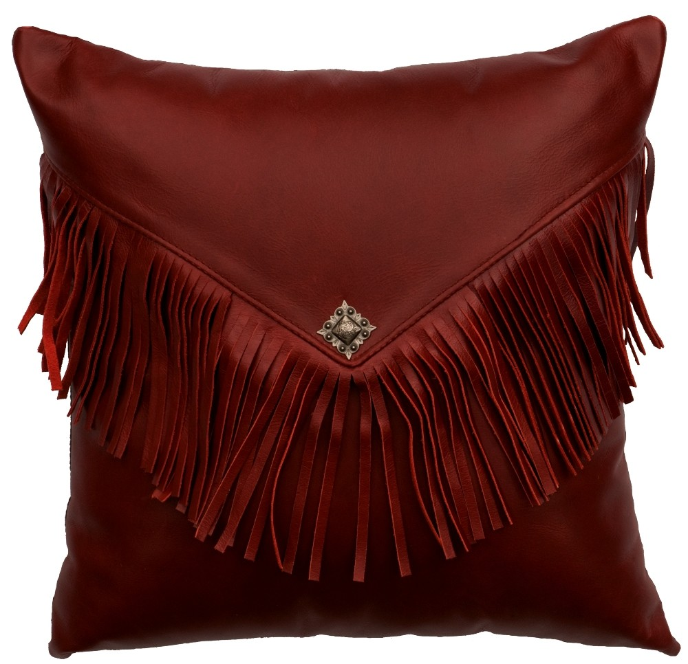 Dark Red Leather Throw Pillow 16 x 16