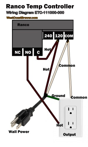 How to wire a Ranco digital temperature controller  120v