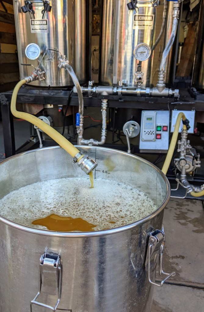 Transferring the Hazy IPA wort to the conical fermenter