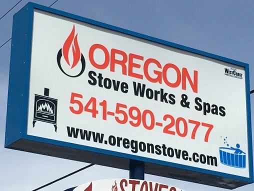 Oregon Stove Work & Spas – Sign