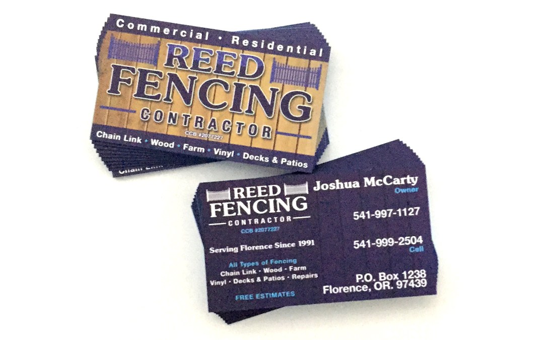 Reed Fencing – Painted Edge Business Cards