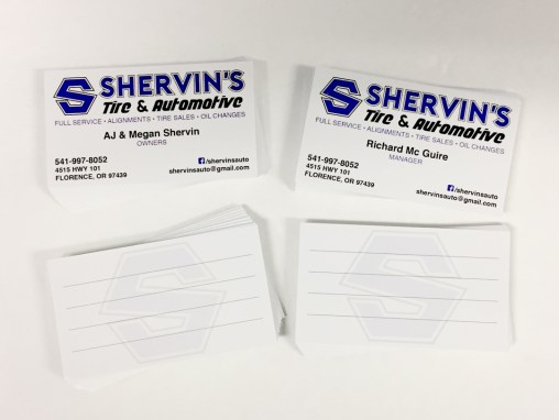 Shervin's Automotive – Business Cards