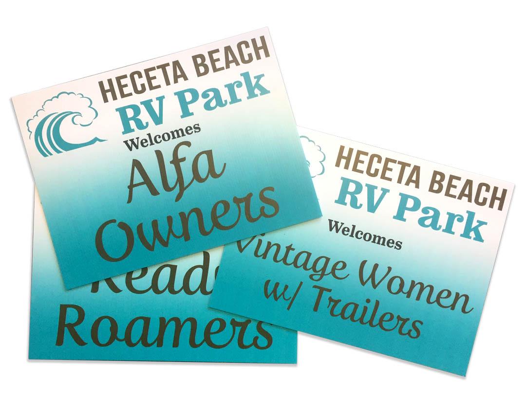 Heceta Beach RV – Coroplast Signs