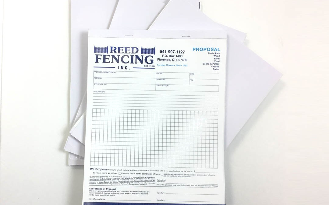 Reed Fencing – NCR Forms