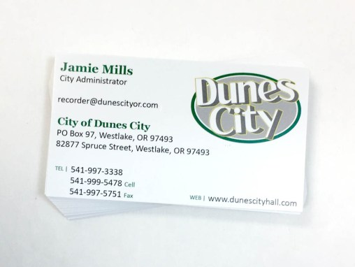 Dunes City – Business Cards