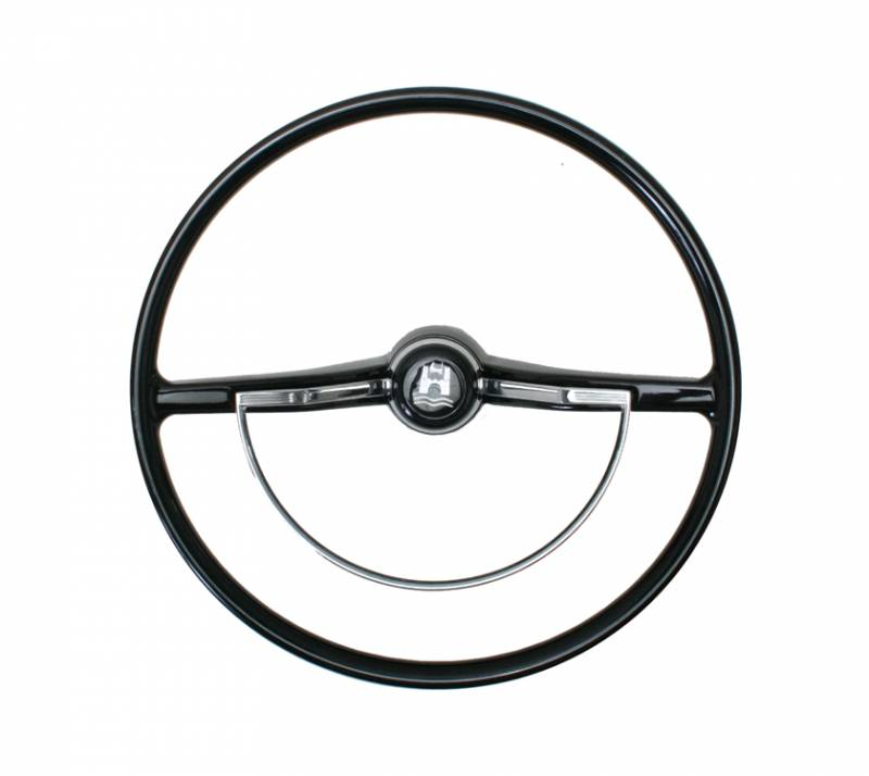 STEERING WHEEL, BLACK WITH HORN BUTTON AND RING, BUG