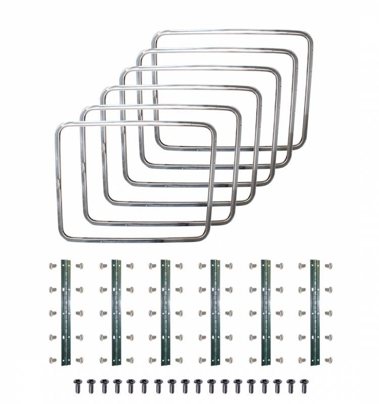 SIDE POPOUT WINDOW KIT, SET OF 6, POLISHED STAINLESS METAL