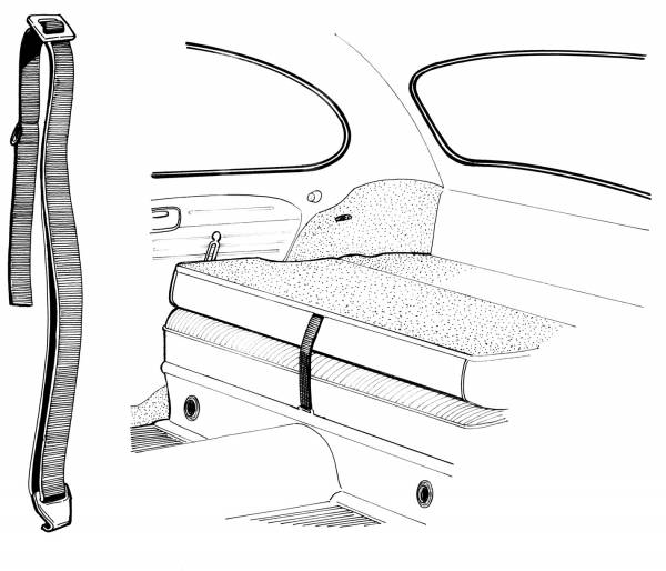 STRAP WITH CLIP, REAR SEAT, BUG 1968-77
