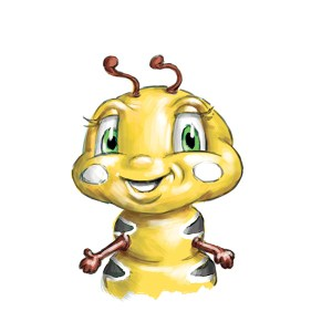 illustration of kibble from the children's book kibble: the monarch caterpillar afraid to get wings