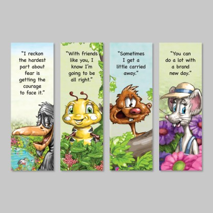 character bookmarks from kibble the monarch caterpillar afraid to get wings