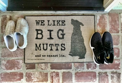 "Welcome mat reading: ""We like big mutts and we cannot lie"" with silhouette of large dog."