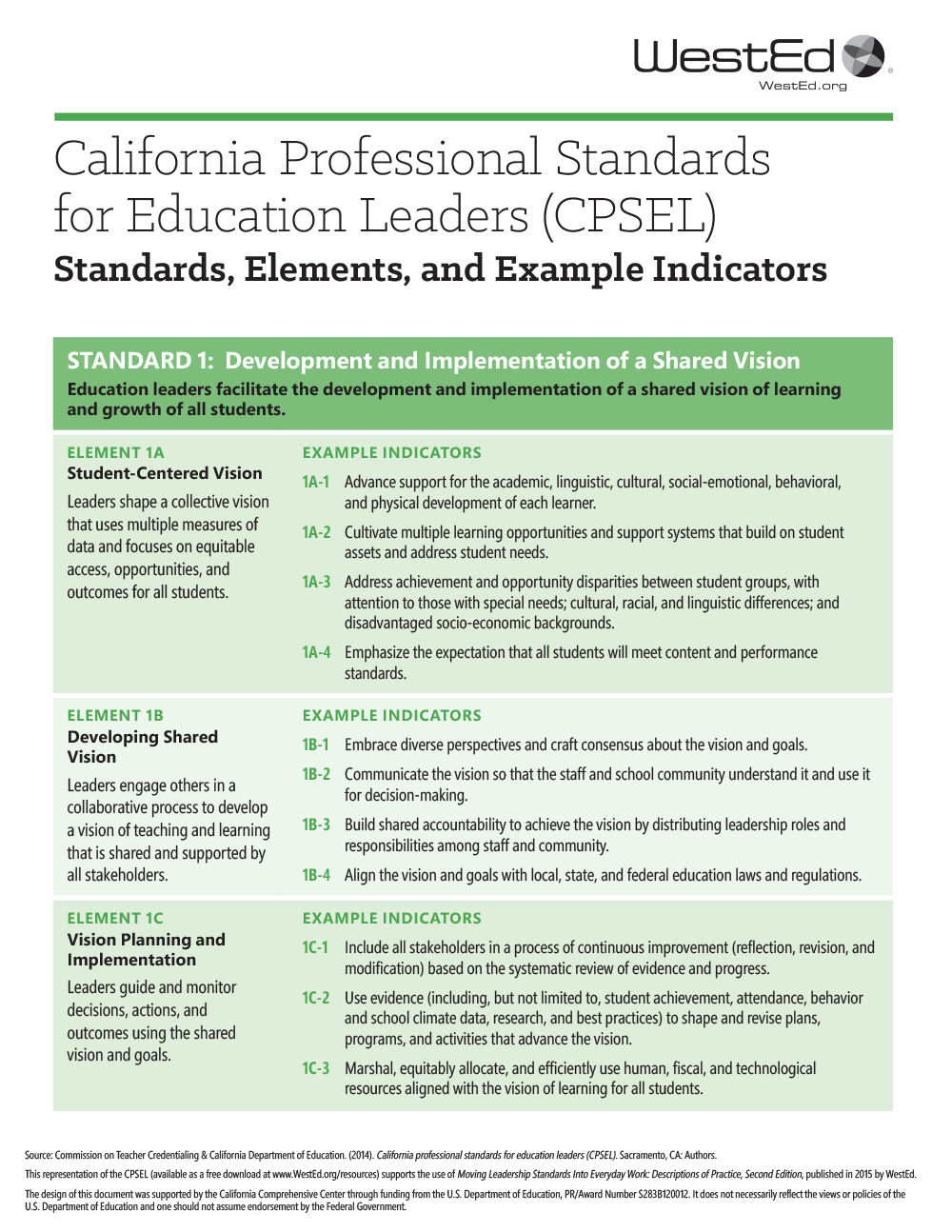 California Professional Standards for Educational Leaders