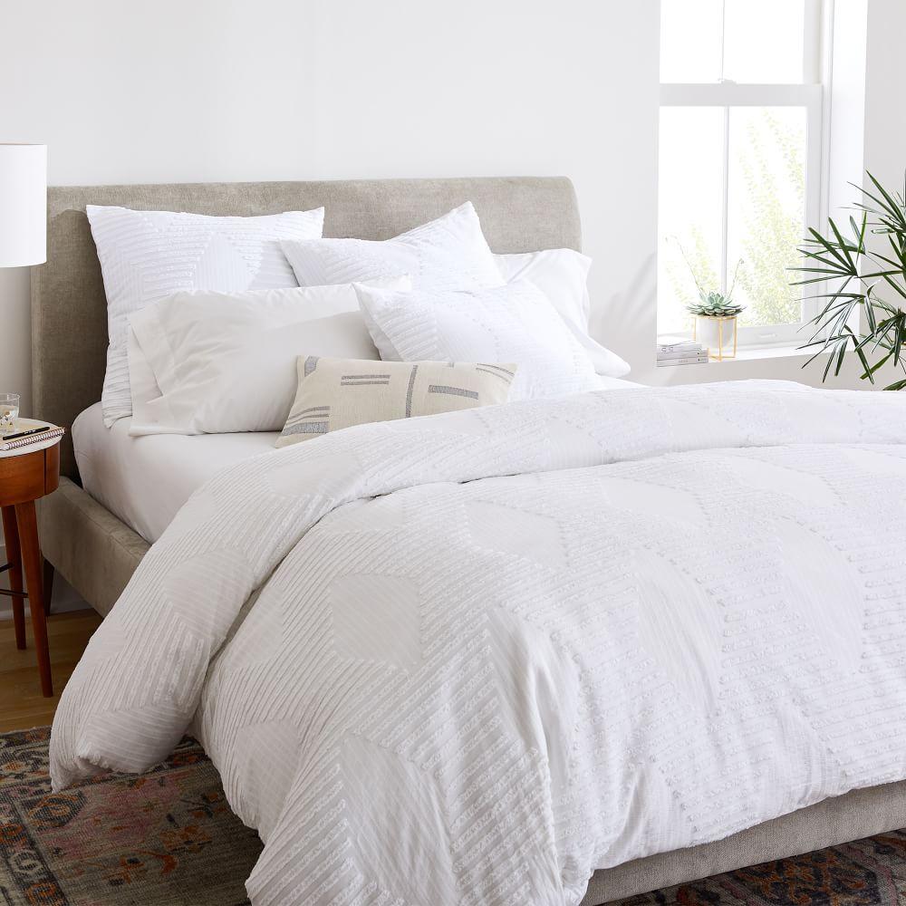 organic cotton clipped jacquard diamond duvet cover pillowcases