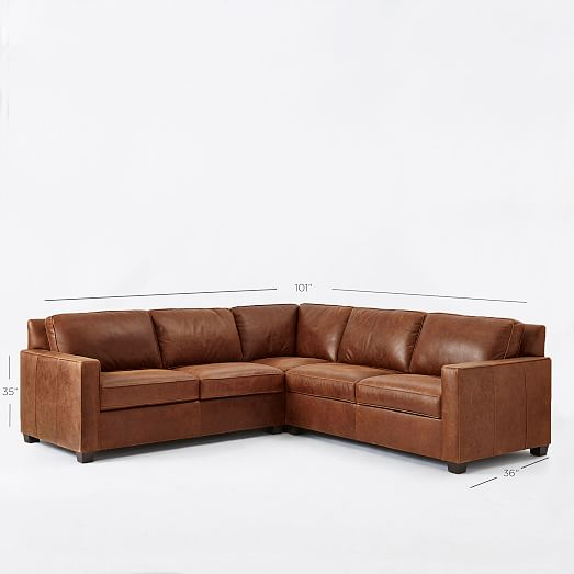 Henry 3Piece LShaped Sectional  Leather  west elm